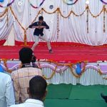 Front view of best break dance in college fresher party.