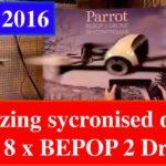 8 x Parrot BEBOP 2 Drones dance in Synchronised demo + Head-on Crash!!